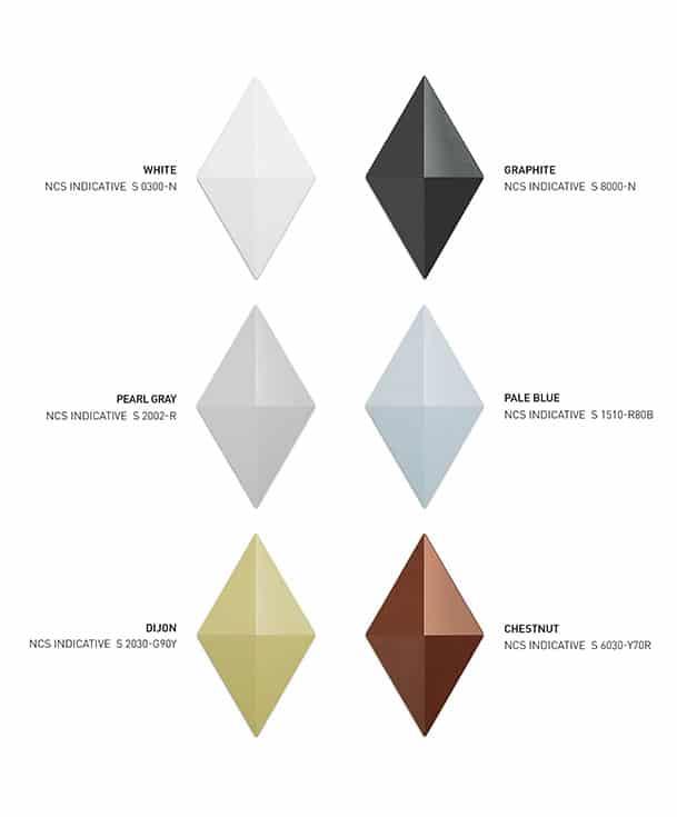 Hanging room divider Facet range of colors