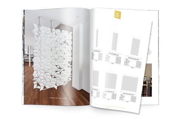 Hanging room divider Facet brochure & price list