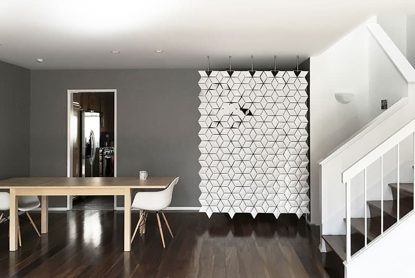 Entryway Divider Hanging Room Divider Facet White 170x249cm 821x550px
