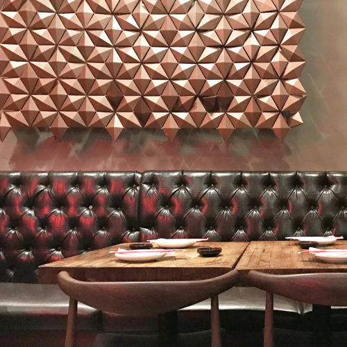 Hanging wall dividers in bronze