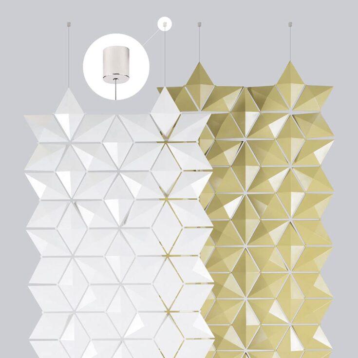 Les attaches de plafond de longueur ajustable permettent de régler l'espace entre le plafond et le séparateur