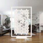 Separador de oficina en casa Facet de 136 cm de ancho x 200 cm de alto y color Blanco