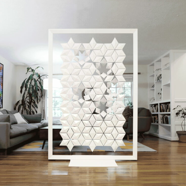 Freestanding room divider Facet in width 136cm x height 200cm and color White