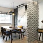 Dining room separation Facet in width 102cm x height 207cm and color Pearl Gray