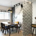 Divisorio per sala da pranzo Facet colore Grigio perla e larghezza 102 cm x altezza 207 cm