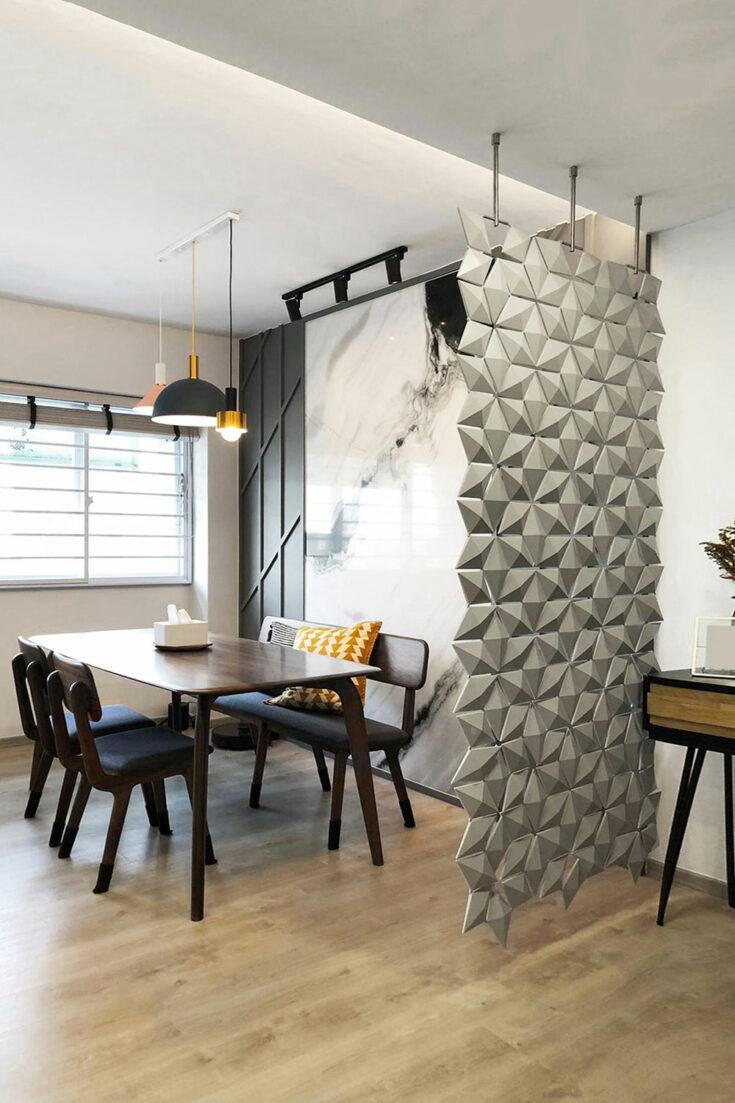 Séparation de salle à manger Facet de couleur Gris perle et largeur 102cm x hauteur 207cm