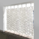 Hanging room divider Facet with beautiful pattern in width 238cm x height 207cm and color White