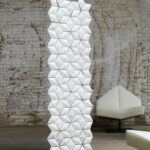 Small room divider Facet in width 68cm x height 217cm and color White