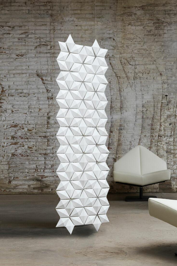 Hangend kamerscherm Facet in kleur Wit en breedte 68cm x hoogte 217cm