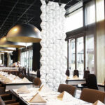 Restaurant partition Facet in width 68cm x height 246cm and color White