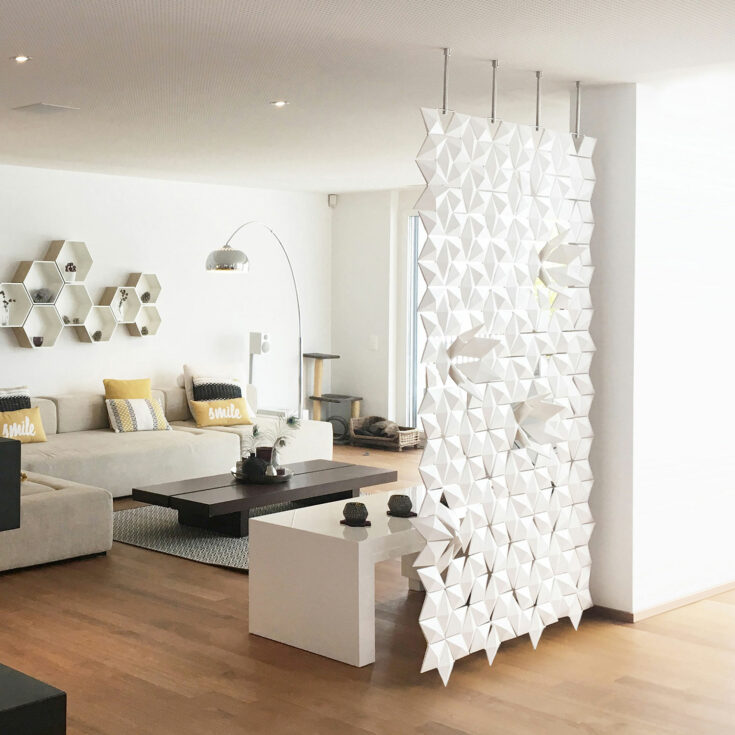 Living room partition Facet in width 136cm x height 226cm and color White