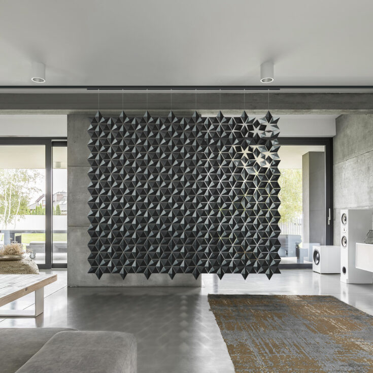 Verschuifbare roomdivider Facet 272 x 236 cm met schuif oplossing