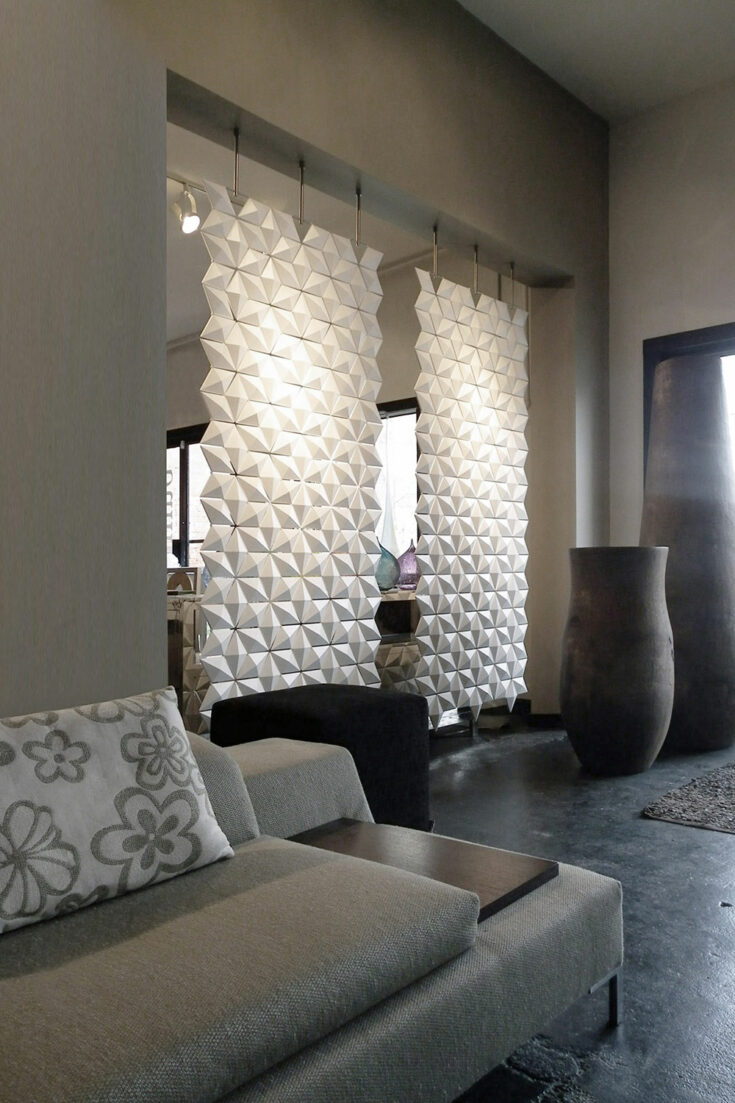 Múltiples separadores de ambientes Facet en color Blanco y ancho 102cm x alto 226cm - 2 piezas