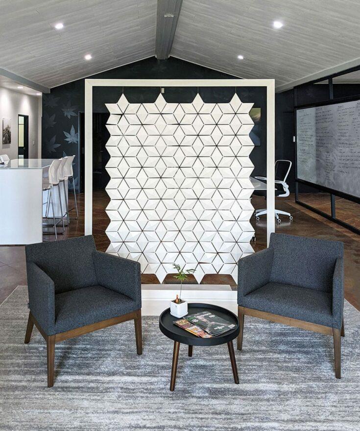Separador de sala de espera para la oficina Facet de 170 x 200 cm en Blanco
